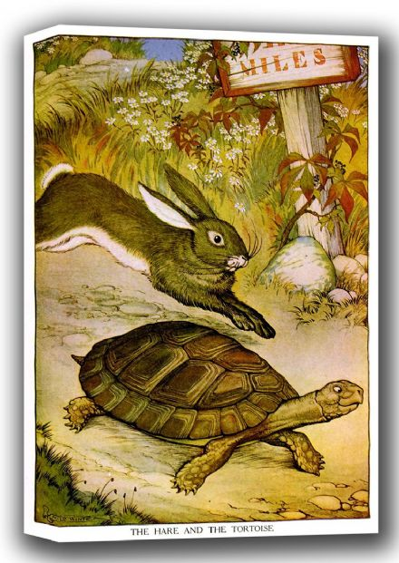 Aesop's Fables: The Hare and the Tortoise Art Canvas. Sizes: A4/A3/A2/A1 (001757)